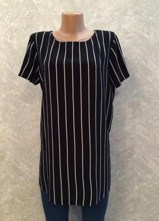 Блузка туника в полоску с удлиненной спинкой