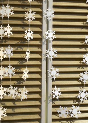 """Новогодние гирлянды белые """"Снежинки"""" - длина нити 4м"""