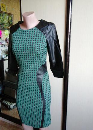 Платье с вставками эко кожи