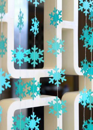 """Новогодние гирлянды голубые """"Снежинки"""" - длина нити 4м"""