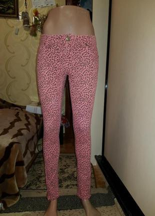 Джинсы  розовый  леопард