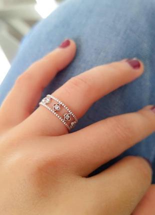 Серебряное кольцо клевер, размер 17
