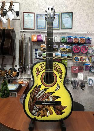 (3623) Гитара с Росписью «Индеец» (Новые Колки и Струны)
