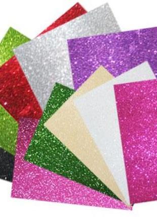 Самоклеющаяся бумага фоамиран цветная с блесками