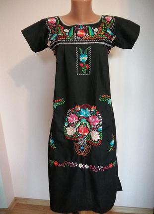 Платье-туника в етностиле вышивка гладью ручная работа xs-s/