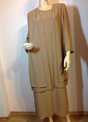 Шикарный вечерний костюм / платье и жакет/xl/ brend rojas
