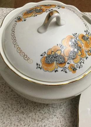 Набор винтажной посуды с супницей из 6 предметов