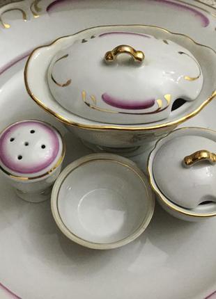 Шикарный аристократический винтажный набор посуды с супницей