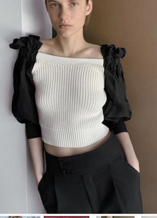 Крутой свитер с поплиновыми рукавами zara