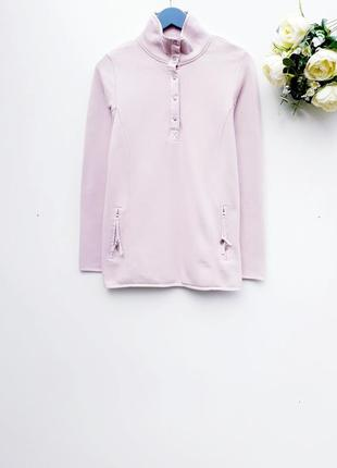 Нежно розовый свитшот толстовка с начесом теплый нежный свитер