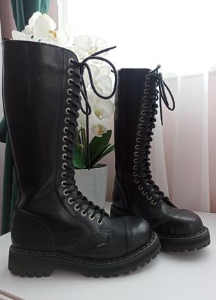 Шикарные высокие берцы сапоги ботинки натуральная кожа на шнур...