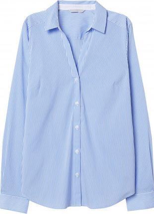 Голубая casual рубашка  в белую полоску h&m