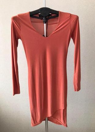 Коралловое облегающее платье с длинными рукавами boohoo night