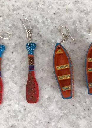 Серьги деревянные с росписью лодка и весла (ручная работа)