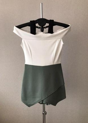 Женский зелено-белый комбинезон от boohoo