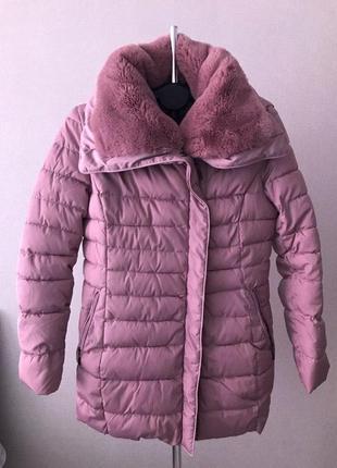 Женская розовая зимняя куртка s'west с искусственным мехом (по...