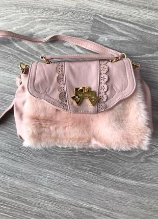Женская розовая сумочка с искусственным мехом  liz lisa
