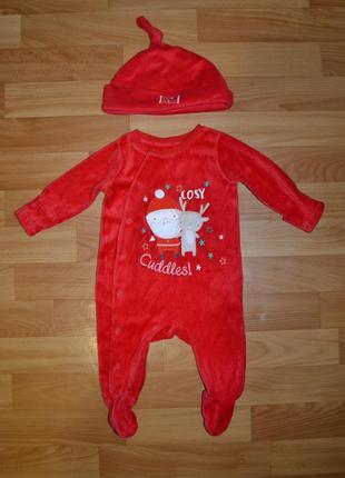 Карнавальный костюм санта на мальчика 0-3 месяца, новогодний к...