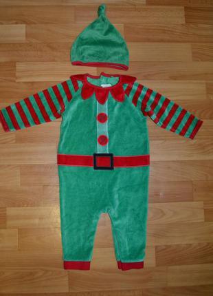 Карнавальный костюм эльф на мальчика 9-12 месяцев, новогодний ...