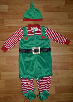 Карнавальный костюм эльф на мальчика 6-9 месяцев, новогодний к...