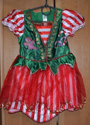 Новогодний костюм эльф на 2-3 года, новогоднее платье