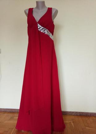 Шикарное длинное вечернее платье