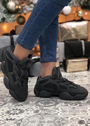 Женские кроссовки зимние adidas yeezy boost 500 black (утеплён...