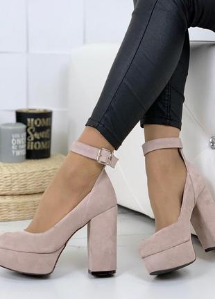 Пудровые замшевые туфли на высоком каблуке и платформе,пудровы...