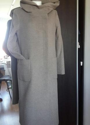 Женское пальто с капюшоном season серое джулия