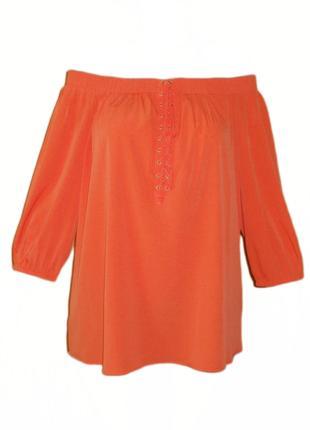 Блуза с открытыми плечами на резинке свободная реглан