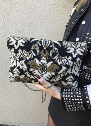 Гобеленовый клатч,сумочка с вышивкой бисером,этно,бохо стиль
