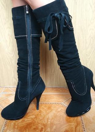 Замшевые кожаные черные утепленные зимние сапоги-чулки вечерние