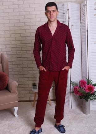 Пижама мужская на пуговицах в классическом стиле