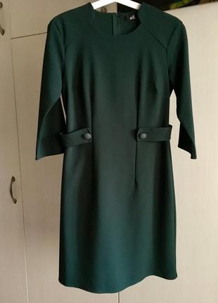Платье зеленого бутылочного цвета в стиле 60 х adl
