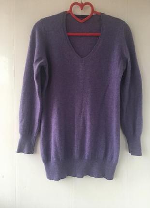Стильный кашемировый удлиненный свитер джемпер туника натураль...