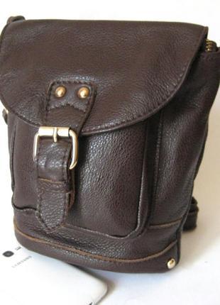 Кожаный рюкзак молодежный маленький винтажный с заклепками, су...