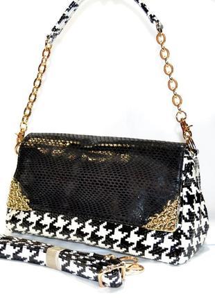 Кожаная сумка на цепочке  шкіряна 2019 сумочка с натуральной л...
