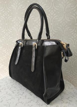 Элитная замшевая сумка черная, натуральная кожа, замша - модел...