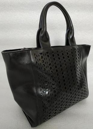 Большая кожаная сумка черная, сумки из натуральной кожи с реме...