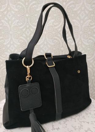 Замшевая черная сумка недорого, натуральная замша осень  зима ...