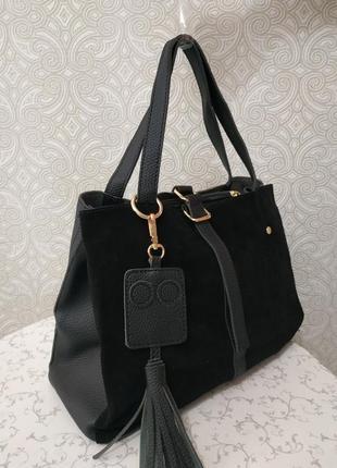 Замшевая сумка 2018 2019 черная сумка с натуральным замшем дли...