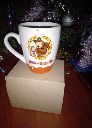 Детская чашка от киндер, чашка маша и медведь