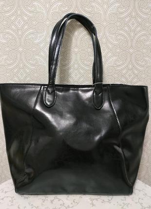 Кожаная черная большая женская сумка шоппер зима 2019  ручки н...