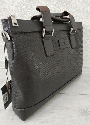 Кожаный мужской портфель сумка через плечо двухсторонний, нату...