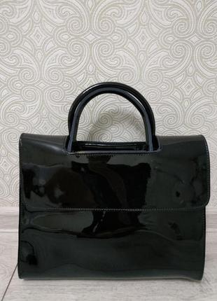Кожаная черная сумка 2019 вместительная, ручка через плечо кро...