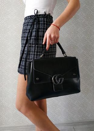 Кожаная женская сумка - портфель  2019,  черного цвета натурал...