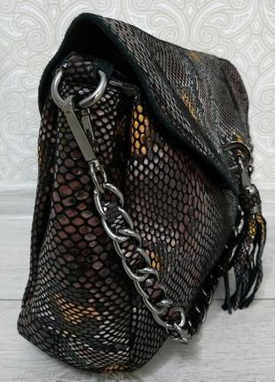 """Кожаная сумка """"черный питон"""" 2019 из натуральной кожи лазерной..."""