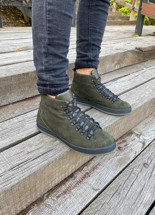 Мужские зеленые зимние ботинки из нубука, на шнурках