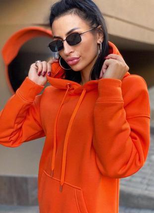 Худи на флисе оранжевый