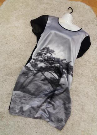 Прямое платье принт дерево--вискоза - распродажа